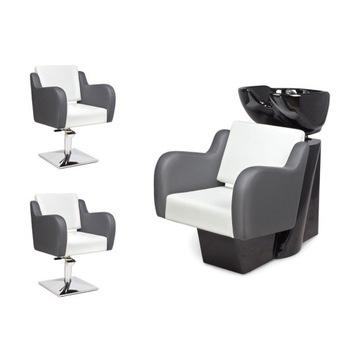 2 x Fotel Fryzjerski + Myjnia Fryzjerska NUVOLA