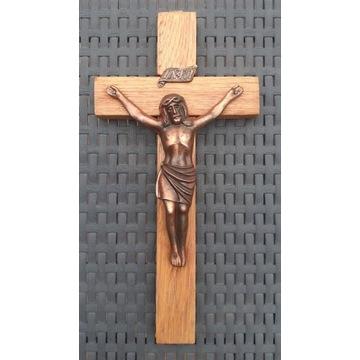 Krzyż drewniany pasyjka Jezus miedziany