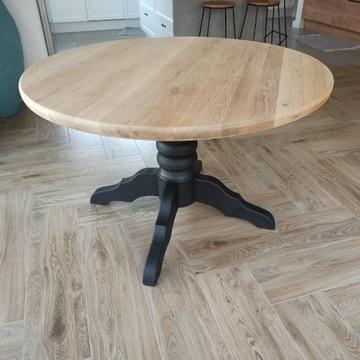 Stół okrągły lity blat dębowy, noga lity buk