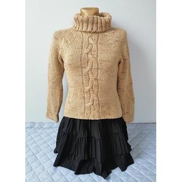 Beżowy sweter golf z warkoczem rozmiar S/M Kamos