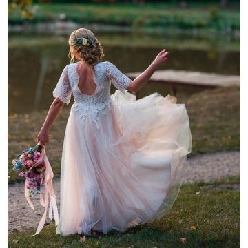 Suknia ślubna styl boho rustykalny, koronka