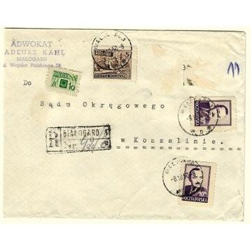 Koperta z 1950r z 2 znaczkami nr 474 i 513 + dopł,