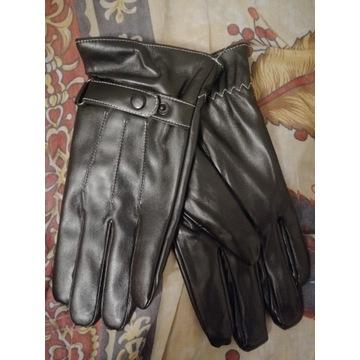 Męskie skórzane rękawiczki skóra ekologiczna