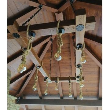 Lampa z belki dębowej do altany salonu i nie tylko