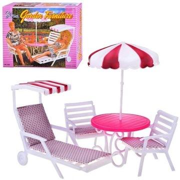 EduCORE duży ogród dla lalki leżak parasol krzesła