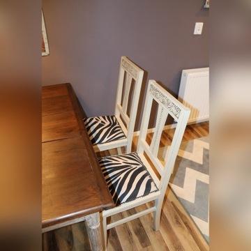 Cztery Krzesła Dębowe styl chabby chic