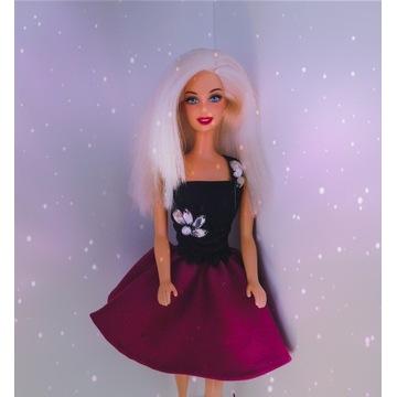 Sukienka z kryształkami ubranko dla lalki