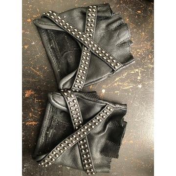 Skórzane rękawiczki bez palców Jungle Tribe