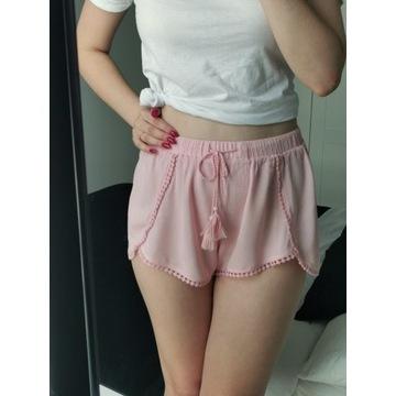 Shorty H&M pudrowy róż koronka 36 S