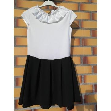 Elegancka sukienka czarno biała, szkolna 146