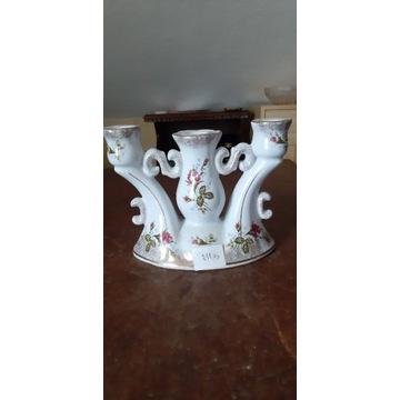 Porcelanowy świecznik sygnowany