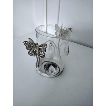 Świecznik z motylkami Vintage