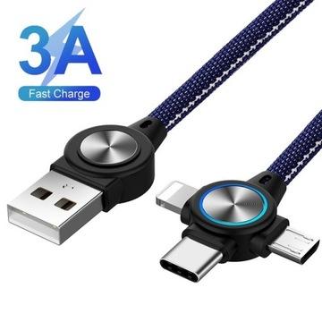 Kabel 3A, 3w1, 1m, type C, micro, 8-pin