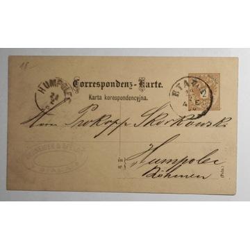 CP 6 Karta Korespondencyjna BIAŁA 1886