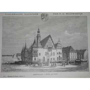 1885 oryginał WROCŁAW BRESLAU Rynek Śląsk herb
