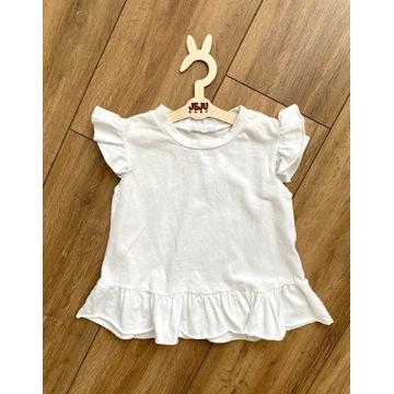 Biała bluzka falbanki t-shirt r.134