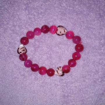 Bransoletka serce dla dziewczyny Agat róż, prezent
