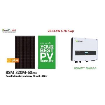 Instalacja fotowoltaiczna 5,8 Kw Growatt 5000TL3-S