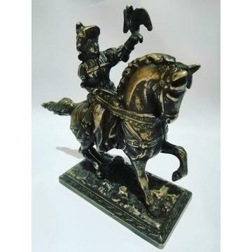 Antyk sokolnik mężczyzna na koniu mosiądz