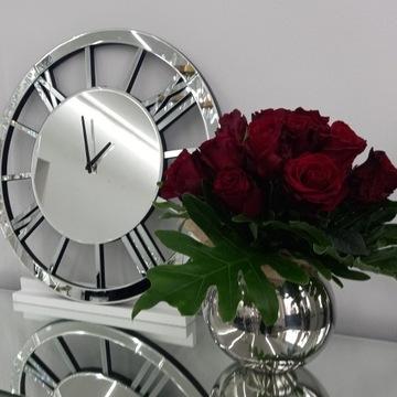 Duży nowoczesny zegar lustrzany ścienny glamour