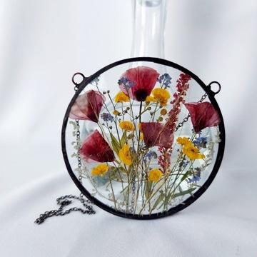 Witraż, dekor z suszonych kwiatów maki, lawenda..