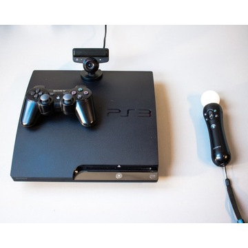 Playstation 3 slim 300gb + MOVE + kamerka + 6 gier