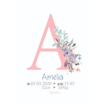METRYCZKA dla dziecka pierwsza literka imienia A3