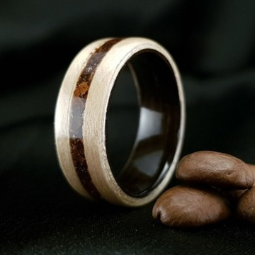 Pierścionek, Obrączka z naturalną kawą, Rocznica