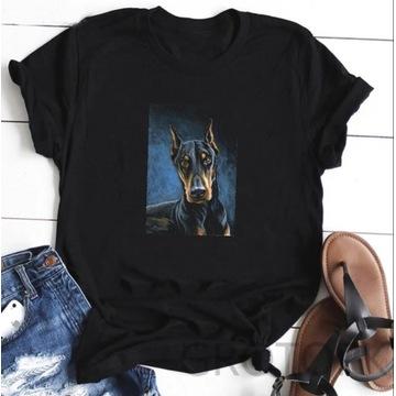 Koszulka t-shirt pies doberman lato S-XXL