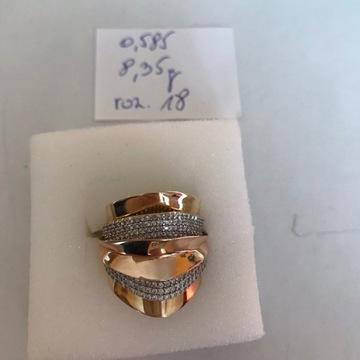 Pierścionek złoty pr. 0,585; z cyrkonami Swarowski