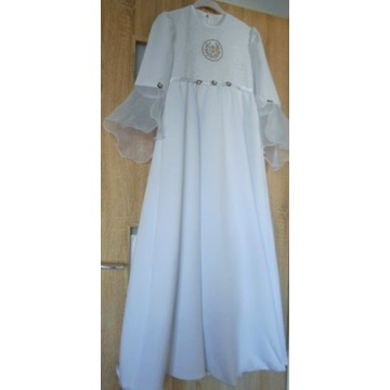 sukienka komunijna z tiulem i halką 146-158 cm - 1