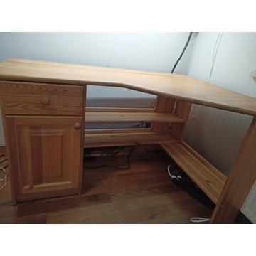 Duże sosnowe narożne biurko 140x100 cm lite drewno