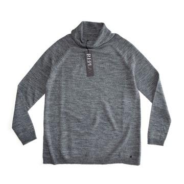 Replay diesel szary luźny wełniany sweter golf