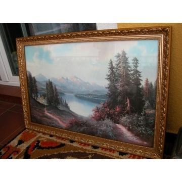 spory obraz góry - oleodruk za szkłem 85/57cm