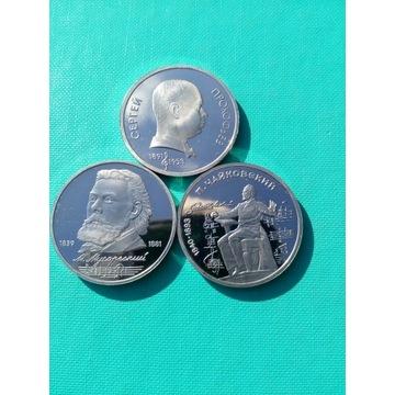 3 Monety 1 RUBEL ZSRR  1989/90/91 Lustrzanki