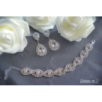 Komplet biżuteria ślubna wieczorowa cyrkonie Z7
