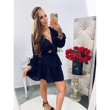 Komplet haftowany czarny Lola Bianka S/M bawełna