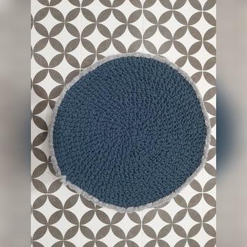 Dywan okrągły, szydełkowy, granatowy, 57 cm