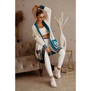 Kardigan Chiara Alys minouu biały / niebieski