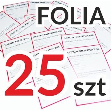 ODPADY NIEBEZPIECZNE etykiety naklejki FOLIA x 25