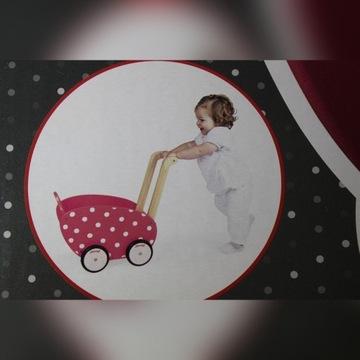 Wózek dla lalki drewniany pchacz Janod nowy