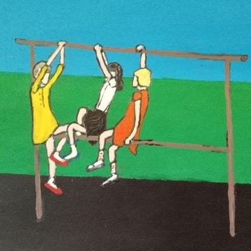 Trzepak, obraz na tekturze, w ramce, ręcznie malow