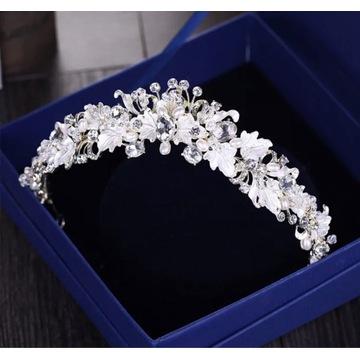 Tiara diadem korona ślubna ozdoba do włosów