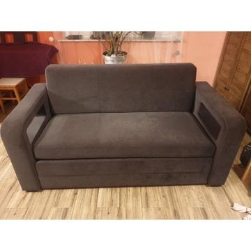 Sofa dwuosobowa brąz zamsz 170cm