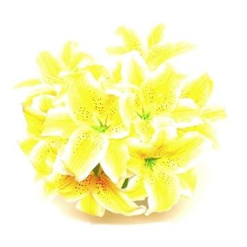 sztuczne kwiaty LILIE bukiet 9szt. żółte