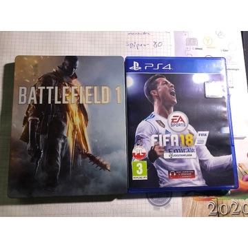Gry PS4 Battlefield 1 plus FIFA 18
