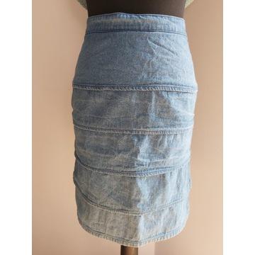 Spódnica jeans 38 wyjatkowy krój plisy śliczna