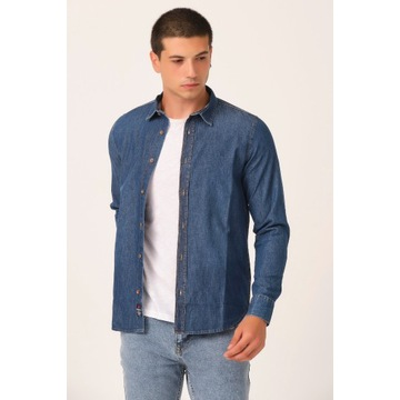 Koszula męska jeansowa z długim rękawem