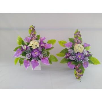 Stroik na grób kompozycje kwiatowe sztuczne kwiaty