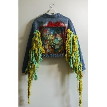Kurtka katana jeans unisex ręcznie malowana